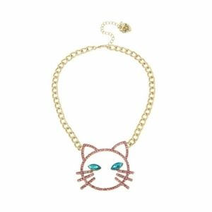 Betsey Johnson Pink Stone Open Face Cat Necklace